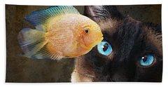 Wishful Thinking 2 - Siamese Cat Art - Sharon Cummings Beach Towel