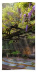 Wisteria Flowers Blooming On Trellis Over Water Fountain Beach Sheet