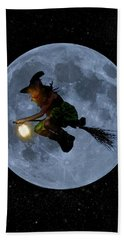 Witch Flying At Full Moon. Beach Towel