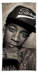Beach Sheet featuring the painting Wiz Khalifa Artwork  by Sheraz A