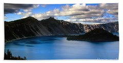 Wizard Island Stormy Sky- Crater Lake Beach Towel