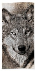 Aaron Berg Photography Beach Towel featuring the digital art Wolf  by Aaron Berg