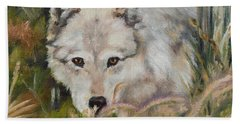 Wolf Among Foxtails Beach Sheet by Lori Brackett