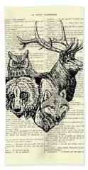 Wolf, Bear, Deer, Owl Wildlife Animals Black And White Beach Towel