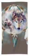 Beach Sheet featuring the mixed media Wolf - Dreams Of Peace by Carol Cavalaris