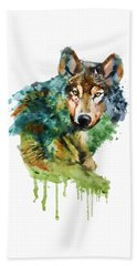 Wolf Face Watercolor Beach Sheet by Marian Voicu