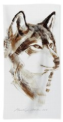 Wolf Head Brush Drawing Beach Towel