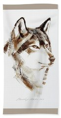 Wolf Head Brush Drawing Beach Sheet
