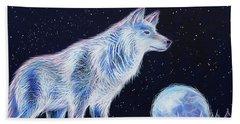 Wolf Moon Beach Towel by Angela Treat Lyon