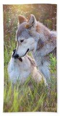 Wolf Soul Mates Beach Sheet