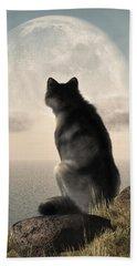 Wolf Watching The Moonrise Beach Towel