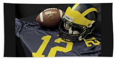 Wolverine Helmet With Football And Jersey Beach Sheet
