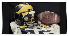 Wolverine Helmet With Jersey And Football Beach Sheet