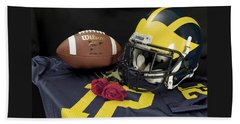 Wolverine Helmet With Roses, Jersey, And Football Beach Towel