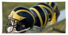 Wolverine Helmets On A Bench Beach Sheet