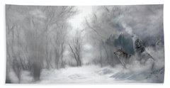 Wolves In The Mist Beach Towel