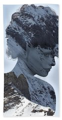 Woman And A Snowy Mountain Beach Towel