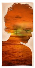 Woman And A Sunset Beach Towel