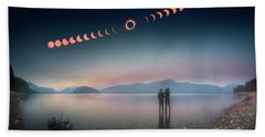 Woman And Girl Standing In Lake Watching Solar Eclipse Beach Towel