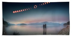 Woman And Girl Standing In Lake Watching Solar Eclipse Beach Sheet