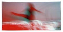 Woman Dancing In Flying Stance Beach Sheet
