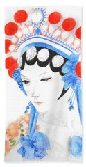 Woman From Chinese Opera With Tattoos -- The Original -- Asian Woman Portrait Beach Sheet