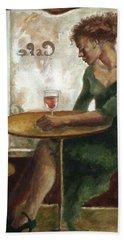 Woman In A Paris Cafe Beach Sheet