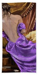 Woman In A Purple Dress Beach Towel
