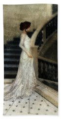 Woman In Lace Gown On Staircase Beach Towel by Jill Battaglia