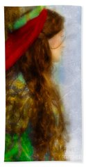 Woman In Medieval Gown Beach Towel