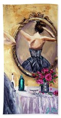 Beach Sheet featuring the painting Woman In Mirror by Jennifer Beaudet