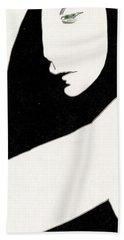Woman In Shadows Beach Towel