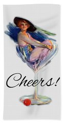 Woman In Wine Glass Beach Towel