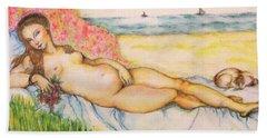 Woman On The Beach Beach Towel by Hye Ja Billie
