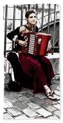 Woman Playing Accordion Beach Sheet