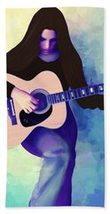 Woman Playing Guitar Beach Towel
