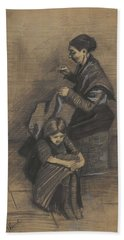 Woman Sewing, With A Girl The Hague, March 1883 Vincent Van Gogh 1853 - 1890 Beach Sheet