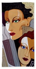 Woman Times Three Beach Towel by Tara Hutton
