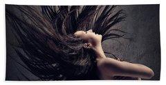 Woman Waving Long Dark Hair Beach Towel