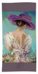 Woman Wearing A Purple Hat Beach Towel