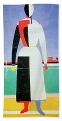 Woman With A Rake Beach Towel by Kazimir Severinovich Malevich