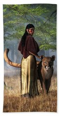 Woman With Mountain Lion Beach Sheet by Daniel Eskridge