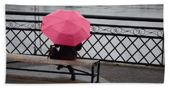 Woman With Pink Umbrella. Beach Towel