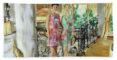Beach Towel featuring the painting Women In Sunroom by Ryan Demaree