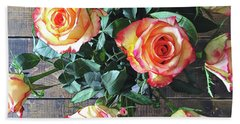 Wood And Roses Beach Sheet by Shadia Derbyshire