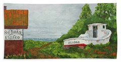 Beach Towel featuring the painting Wood Boat Works by Jack G Brauer