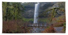 Wood Bridge On Hiking Trail At Silver Falls State Park Beach Towel