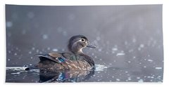 Beach Towel featuring the photograph Wood Duck Hen by Bill Wakeley