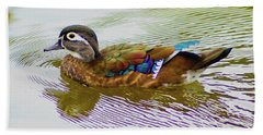 Wood Duck Hen Beach Towel