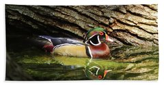 Wood Duck In Wood Beach Towel